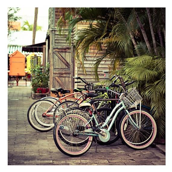 Art, Photography, Fine Art Print, Summer, Bikes, Bicycle Print, Green, Pink, Orange, Pastels