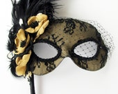 Gold Anenome Masquerade Mask with feathers and veil