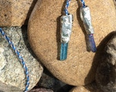 Tanzan Aura and Aqua Aura Quartz Kumihimo Necklace
