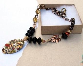 Brown, autumn, fall, ceramic beads, Golem Design, art beads, earthy, woodland, leather, Czech glass, multi media necklace by Esfera Jewelry
