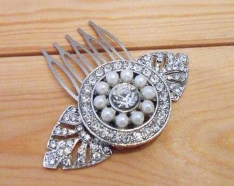 Art Deco pearl comb bridal comb vintage wedding 1920's bride