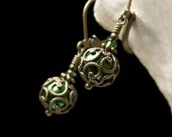 Forest Green Pearl Earrings Victorian Steampunk, Dark Green Crystal Pearl Edwardian Bridal Drops, Bronze Filigree, Titanic Temptations 14008