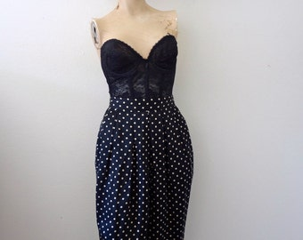Geoffrey Beene NOS Black Silk Skirt with Graphic Print / designer vintage office attire