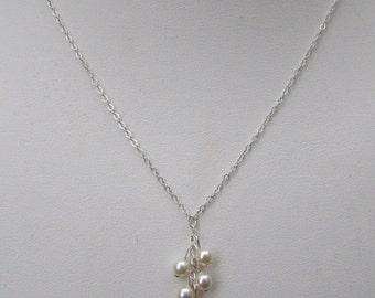 Tiny 4mm Pearl Necklace Sterling