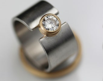 Wedding and engagement band - wide palladium lunar eclipse unique wedding ring - alternative moissanite and gold  - his and hers