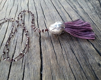 Long Tassel Necklace, Boho Purple Tassel Necklace, Sterling Silver Large Flower Bud, Hippie Chic Necklace, Unique Gift, Tassel Jewelry
