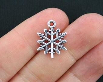 10 Snowflake Charms Antique Silver Tone - SC3518