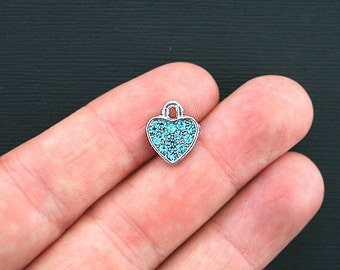 4 Heart Charms Antique Silver Tone Turquoise Encrusted Rhinestone - SC117