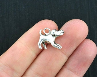 4 Dog Charms Antique Silver Tone Playful Pup 2 Sided - SC3663