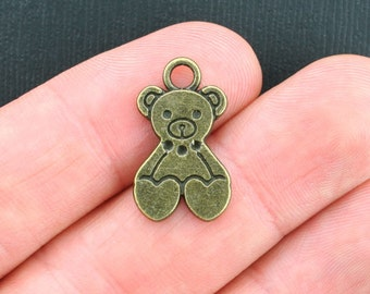 6 Teddy Bear Charms Antique Bronze Tone - BC1047