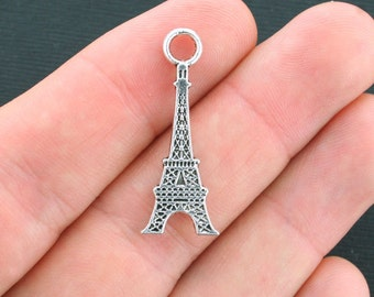 10 Eiffel Tower Charms Antique Silver Tone Larger Sized- SC4173