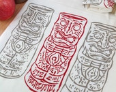 Retro Tiki Flour Sack Tea Towel Kitsch Hawaiian Rockabilly Hula Red