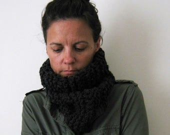 Womens Cowl Scarf Neckwarmer Hand knitted in Black