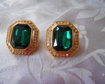 Vintage earrings, emerald green crystal earrings, elegant stud earrings, designer earrings, retro earrings, vintage jewelry