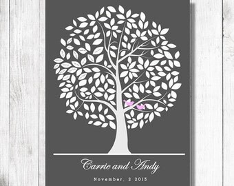 Wedding Guestbook.wedding tree Alternative Print. To Be Personalized With Guest's Signatures - 17x22 - 160 Signature Wedding Guest Book tree