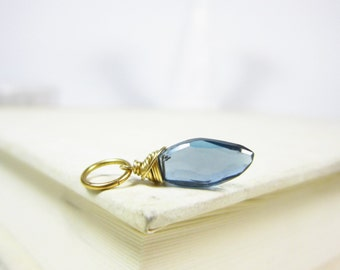 London Blue Topaz Pendant - Dark Blue Topaz Stone Jewelry - Add on Charms - Add a Charm - Bridal Shower Gift for Bride - Gift for Women
