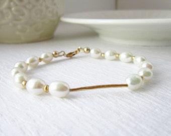 Clearance - White Pearl Bracelet - 14k Gold Bracelet - Bridal Bracelet - Wedding Jewelry - Bridal Jewelry - Pearl Jewelry - Wedding Bracelet