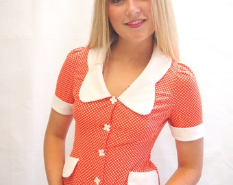 Vintage 1970's orange and white polka dot print blouse