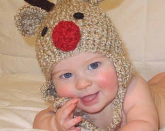 Baby Hat - Reindeer Hat - Baby Reindeer Hat - Oatmeal  Reindeer Hat - Cute and Soft Earflap Hat - by JoJosBootique