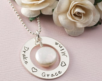 Mothers necklace Washer style Personalized Sterling Silver Family Name Pendant with Coin Pearl