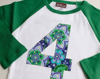 Number 4 Birthday Shirt, Fourth Birthday Shirt, Girls 4th Birthday, I am Four, 4T Purple and Green Floral Raglan Tshirt Ready to Ship