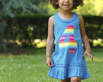 Choose Number Girls Birthday Dress Tunic Rainbow Applique Number Tank Top Dress 2nd 3rd 4th 5th Birthday Teal Rainbow Party Ruffle