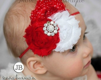 Baby Headbands, Baby headband,Red Headband,Valentines headband, Christmas headband, girls  headbands, shabby chic headband,flower headband.