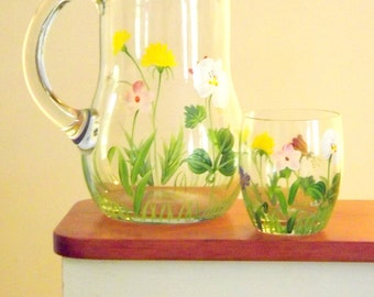 Hand Painted Flower Pitcher, Large Floral Pitcher, Heavy Weight Clear Glass Pitcher, Bridal Wedding Serving Pitcher