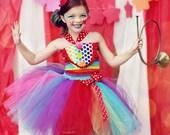 Girls Circus Costume- Girls Clown Costume- Carnival Birthday- Circus- Rainbow  - Tutu dress- costume-  size 5, 6, 7 with leg warmers