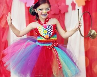 Girls Circus Costume- Girls Clown Costume- Carnival Birthday- Circus- Rainbow  - Tutu dress- costume- girls costume dress- size 5, 6, 7
