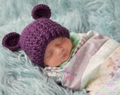 Crochet Baby Bear Beanie Hat - Newborn to 12 months - Plum Perfect - MADE TO ORDER