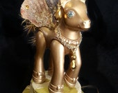 My Little Pony Bling Hat - gold rhinestone mad hatter ooak