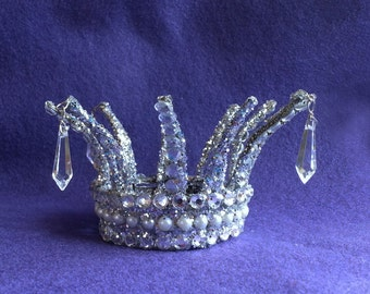 Mini Icicle Crown - silver pearls rhinestones snow queen