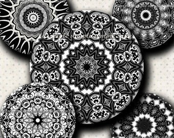 INSTANT DOWNLOAD Black And White Mandalas (667) 4x6 and 8.5x11 ( 30mm ) Digital Collage Sheet glass tiles cabochon pendants images