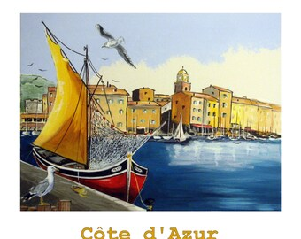 SAINT TROPEZ, Original Travel Poster, French Riviera Mediterranean sailboat port,  Illustration Artist Print Wall Art, Free shipping in USA.