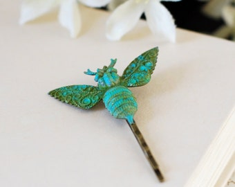 Bee Hair Pin. Verdigris Patina Brass Blue Bee Hair Bobby Pin, Bee Hair Clip, Woodland Victorian Bee Hair Accessory, Gift for Bee Lover