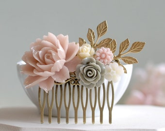 Bridal Hair Comb Wedding Hair Comb Blush Pink Grey Powder Pink Gray Ivory Flower Hair Comb Dusty Pink Rose Gold Leaf Branch Hair Comb