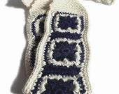 No-Slip Crochet Headband, Boho Hairband In Ivory White and Navy Blue 100 Percent Cotton