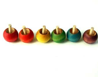 1 Rainbow SPIN TOP, Waldorf Toy Wooden Top, Choose ONE