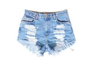 Destroyed Ripped Trashy Distress  Daisy Dukes Custom Made High Waist Shorts Plus Sizes