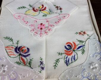 Vintage White Linen  Embroidered with Flower Handkerchief  In Original Mountain Scene Box