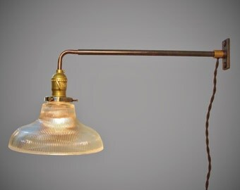 Industrial Wall Light - Vintage Sconce w/ Holophane Glass Ribbed Shade - Pharmacy Lamp - Industrial lighting - Steampunk Sconce - Apothecary