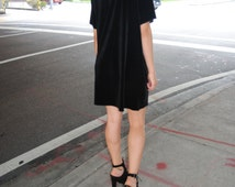 Black Velvet Dress / Short Sleeve Stretch Velvet Tee / Available in other colors Handmade by GAG THREADS