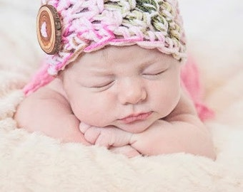 Baby Hat Beanie Crocheted with Hand Made Wooden Button pink camo - many colors available