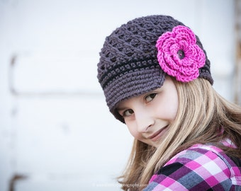 Girl Flower Newsgirl Newsboy Crochet Hat in Charcoal, Black, and Hot Rose. baby toddler child tween teen adult Made to order