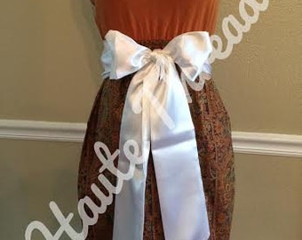 UT Texas Longhorns College Gameday Orange Gold & Brown Paisley Tube Strapless T-Shirt Dress with White or Brown Bow Sash - Small