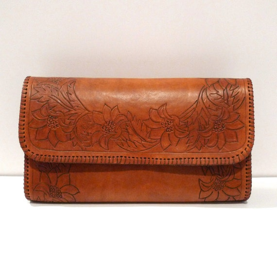 Tooled Leather Clutch Bag Floral Border Purse Vintage Rockabilly Country & Western 1950's Whipstitch Flower Design Cowgirl FREE US SHIPPING