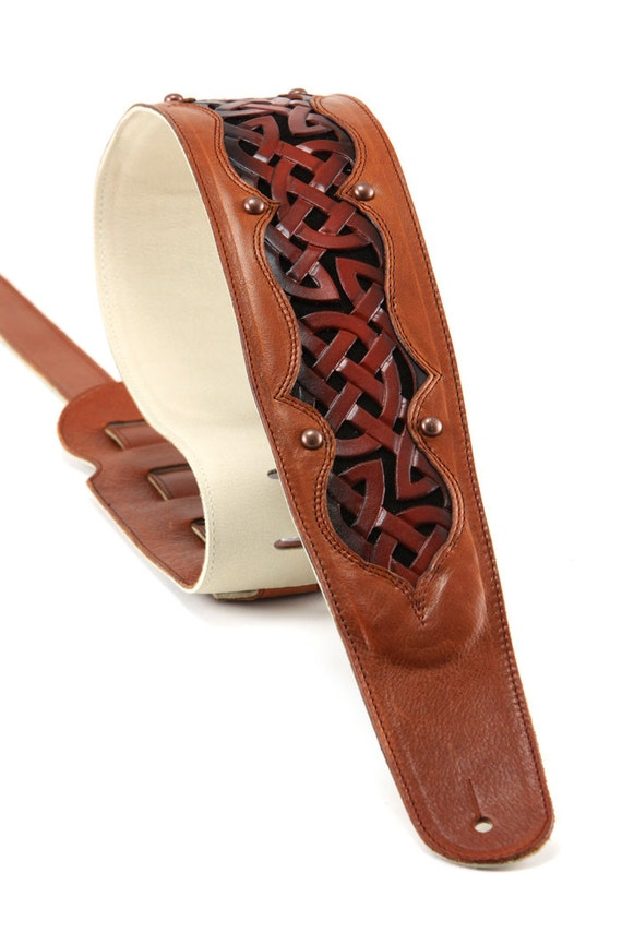 SALE Leather Guitar Strap, Brown Leather Gutiar Strap, Celtic Guitar Strap, Celtic Sunrise Guitar Strap