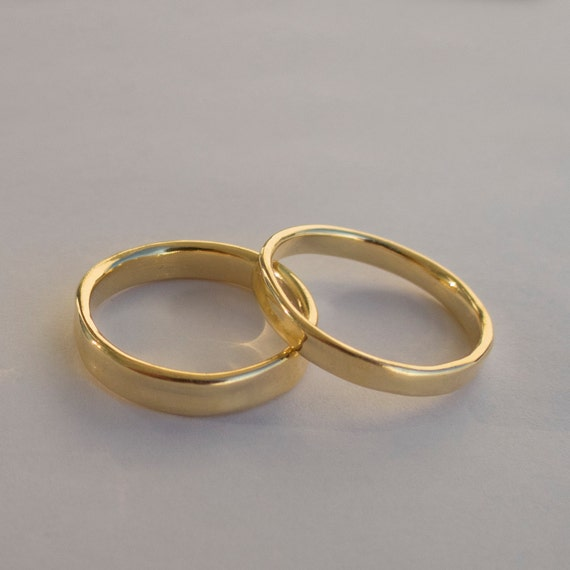 Simplistic Bands: His And Hers Wedding Rings 14k Gold Rings Simple Gold Rings