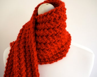 SALE Super Chunky Orange Knit scarf with button detail